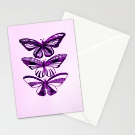 Pink and black butterflies, with pastel pink or pastel purple Stationery Cards