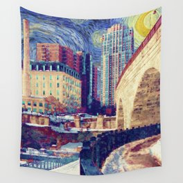 Minneapolis Starry Night Wall Tapestry