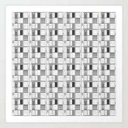 Gray-Cuadricula Art Print