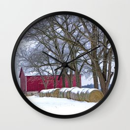 Red Barn in Winter with Hay Bales Wall Clock