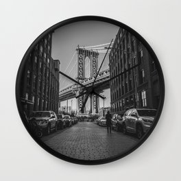 New York City Bridge (Black and White) Wall Clock