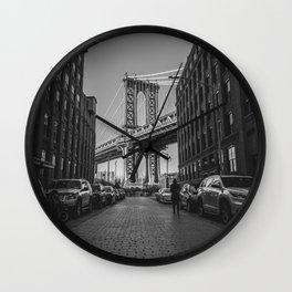 New York City Bridge (Black and White) Wall Clock