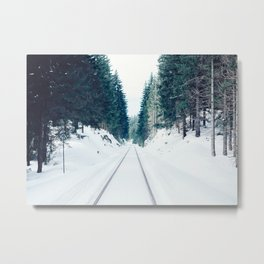 Snow Covered Railway Metal Print