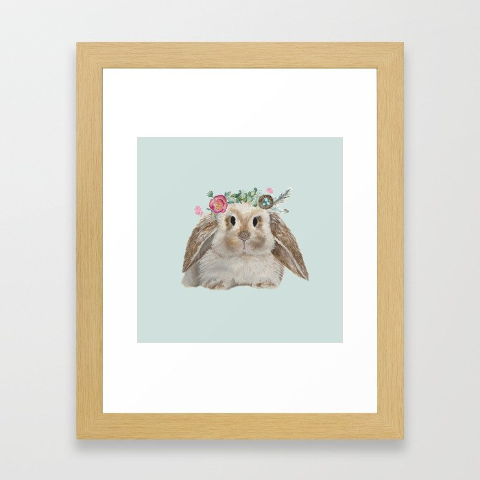Spring Bunny with Floral Crown Framed Art Print