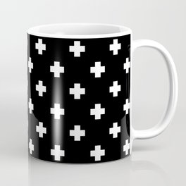White Swiss Cross Pattern on black background Coffee Mug