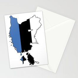 Estonia Map with Estonian Flag Stationery Cards