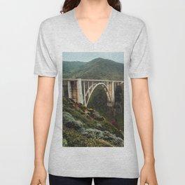 Bixby Bridge | Big Sur California Highway Ocean Coastal Travel Photography Unisex V-Neck