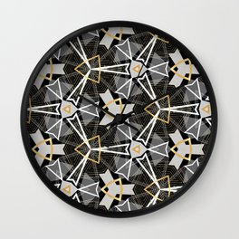 Gray and Gold Abstract Geometric Part III. Wall Clock