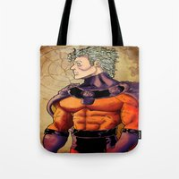 magneto Tote Bags featuring magneto by Brian Hollins art