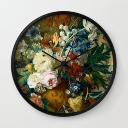 "Jan van-Huysum ""Flowers in a Vase with Crown Imperial and Apple Blossom"" Wall Clock"