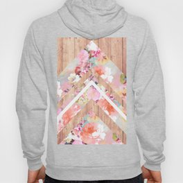 Vintage floral watercolor rustic brown wood geometric triangles Hoody