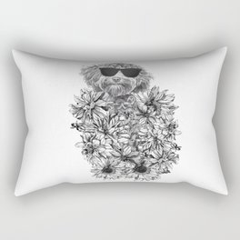 temporary design miniature dog covered in flowers Rectangular Pillow