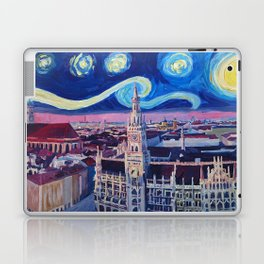 Starry Night In Munich Van Gogh Inspirations with Church of Our Lady and City Hall Laptop & iPad Skin