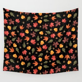 Autumn Leaves Pattern Black Background Wall Tapestry