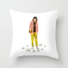 snowdrop girl Throw Pillow