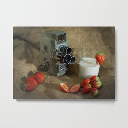 Sekonic and Strawberries Metal Print