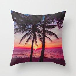 Beautiful Palm trees silhoette at sunset beach. Tropical beach. Throw Pillow