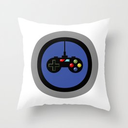 Game Controller in Blue Target Throw Pillow
