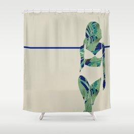 Back to Nature (Jungle Beach Escape Navy Ecru) Shower Curtain
