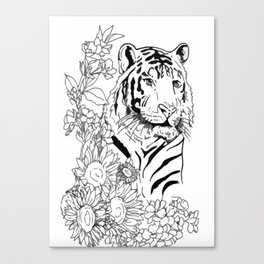 Sunflower Tiger: floral tiger print Canvas Print