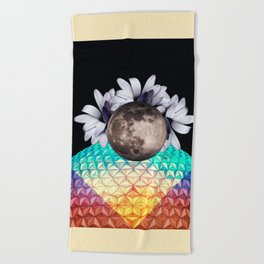 Beyond the moon and back Beach Towel