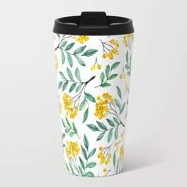 Hand painted yellow green watercolor berries floral pattern Travel Mug