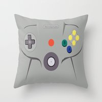 nintendo Throw Pillows featuring Nintendo 64 by Bradley Bailey