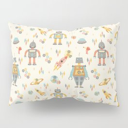 Vintage Inspired Robots in Space Pillow Sham