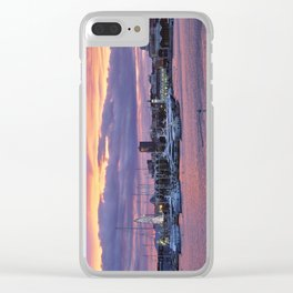 Sunset at the seaport Clear iPhone Case