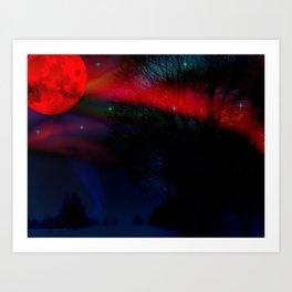 Aurora Borealis Red Moon By Marie Plourde Art Print