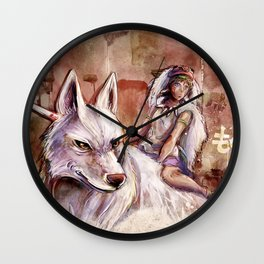 Miyazaki's Mononoke Hime - San and the Wolf TraDigital Painting Wall Clock