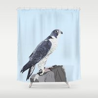 falcon Shower Curtains featuring Peregrine Falcon by kaianni