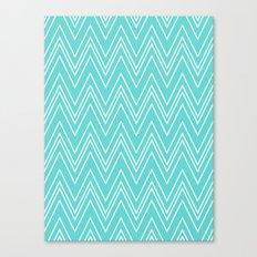Aqua Skinny Chevron Canvas Print