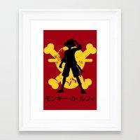 luffy Framed Art Prints featuring Monkey D. Luffy by KerzoArt