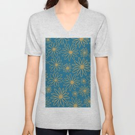 Floral  Pattern - Teal, Blue, Cooper Brown Unisex V-Neck