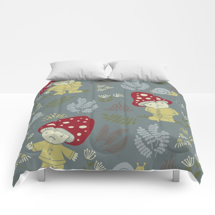 Melancholy Mushrooms Comforters