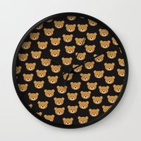 moschino Wall Clocks featuring teddy bear pattern by Marta Olga Klara