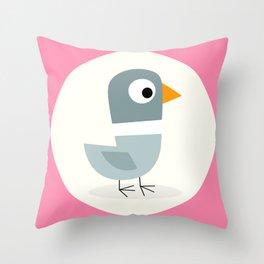 Mr Bird Pink Throw Pillow