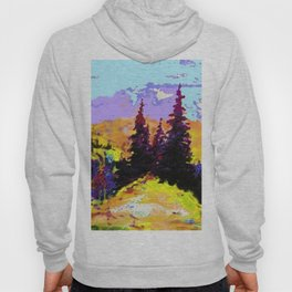 Decorative Abstract Blue Purple Landscape Art Hoody