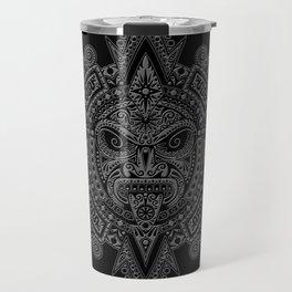 Ancient Gray and Black Aztec Sun Mask Travel Mug
