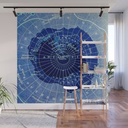 South Pole Neon Map Wall Mural