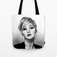 jennifer lawrence Tote Bags featuring Jennifer Lawrence by Cécile Pellerin