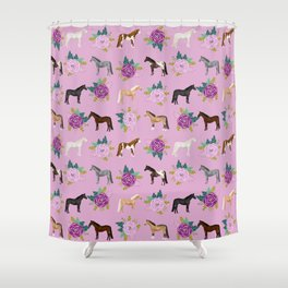 horse, floral, florals, flowers, pink, flowers, bloom, horse, horse bedding, horse blanket, horse, p Shower Curtain