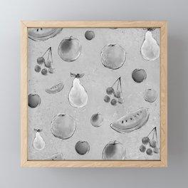 Monochrome fruit pattern Framed Mini Art Print