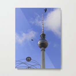 "TV Tower with detail of ""World time Clock"", BERLIN Metal Print"