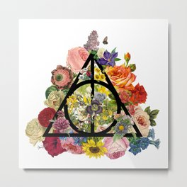 Floral Deathly Hallows - Black Metal Print