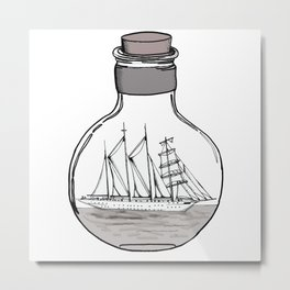 the ship in the bulb . illustration . Metal Print