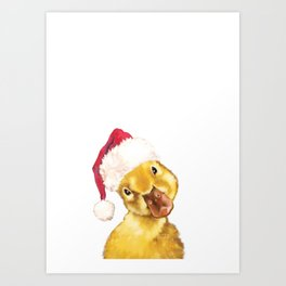 Christmas duckling Art Print