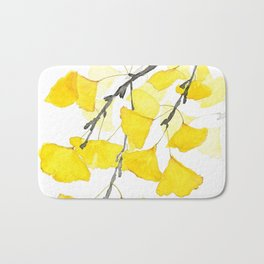 Golden Ginkgo Leaves Bath Mat