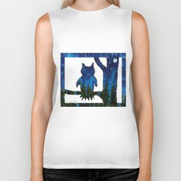 Owl Silhouette with Night Forest Biker Tank